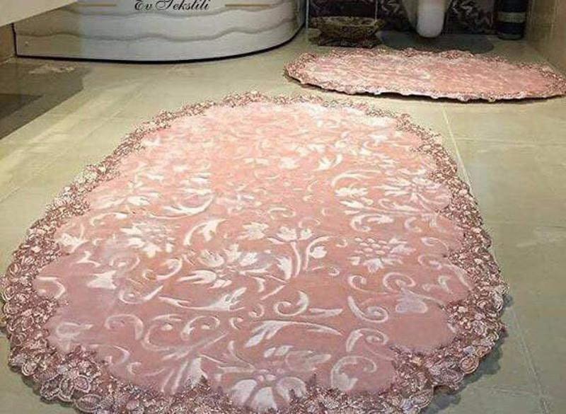 Estima Lux элитные коврики розового цвета 2-шт с кружевами (универсальные)