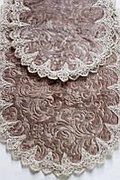 Estima Lux элитные коврики цвета чайной розы 2-шт с кружевами (универсальные)
