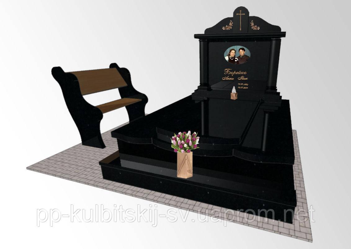 Пам'ятник надгробний з чорного граніту 8992