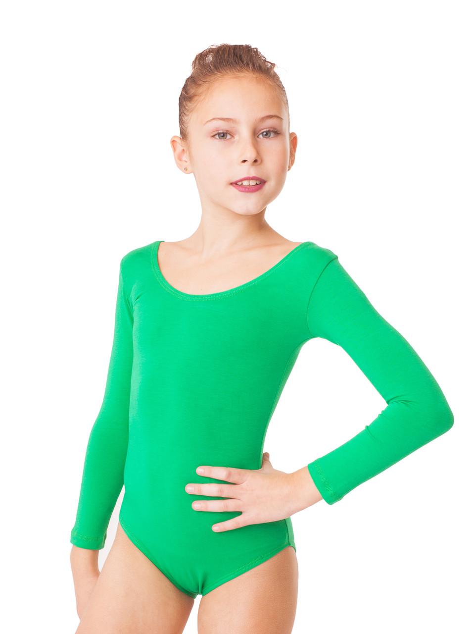 Купальник для гимнастики трикотаж Зеленый