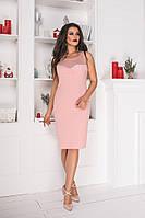 Женское праздничное облегающее мини платье украшенное приятной мягкой сеткой( крепдайвинг+сетка) батал, фото 1