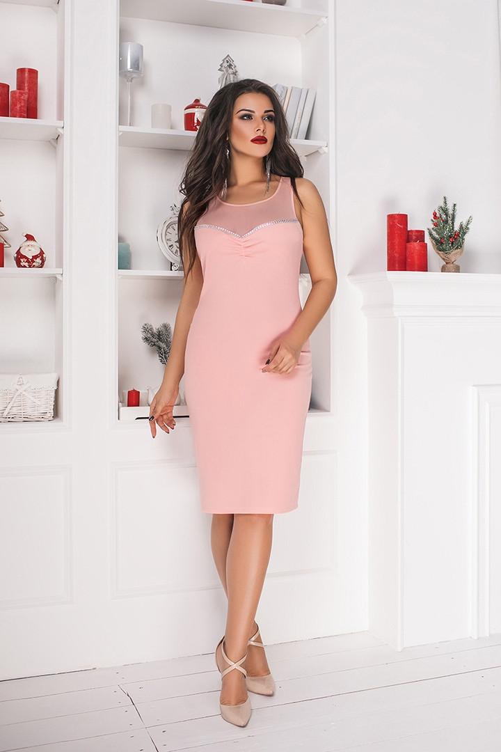 Женское праздничное облегающее мини платье украшенное приятной мягкой сеткой( крепдайвинг+сетка) батал