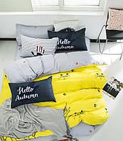 Комплект постельного белья Bella Villa сатин Евро желтый с серым