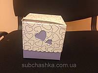 Упаковка для чашек картон сердце с принтом голубая