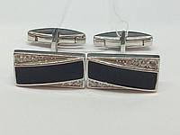 Серебряные запонки с фианитами и эмалью. Артикул 8637р, фото 1