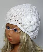 """Детская весенняя шапка для девочки """"Зефир"""" р.48-50 белый, малина, персик"""