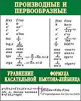 """Учебный плакат """"Производные и первообразные"""""""