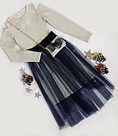 Платье нарядное, фатин+люрекс, размер 134 -152, темно синий+серебро, цепочка на сумке СЕРЕБРО, фото 1