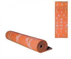 Коврик для йоги 173-61 см Оранжевый (MS1845(Orange))