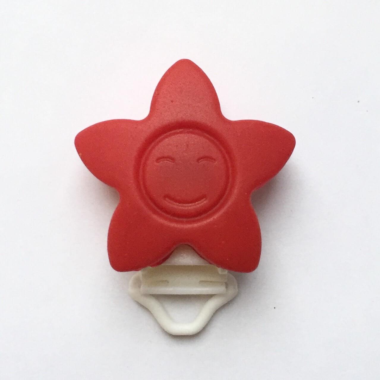 КЛИПСА звезда (красный) силиконовая для пустышки