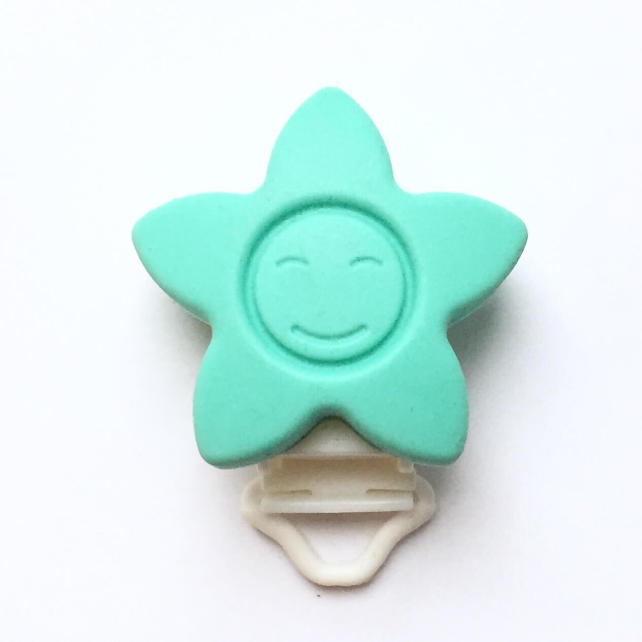 КЛИПСА звезда (бирюза) силиконовая для пустышки