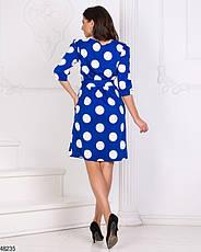 Женское демисезонное  платье в горох синее размеры:42-44,46-48, фото 2