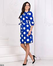 Женское демисезонное  платье в горох синее размеры:42-44,46-48, фото 3
