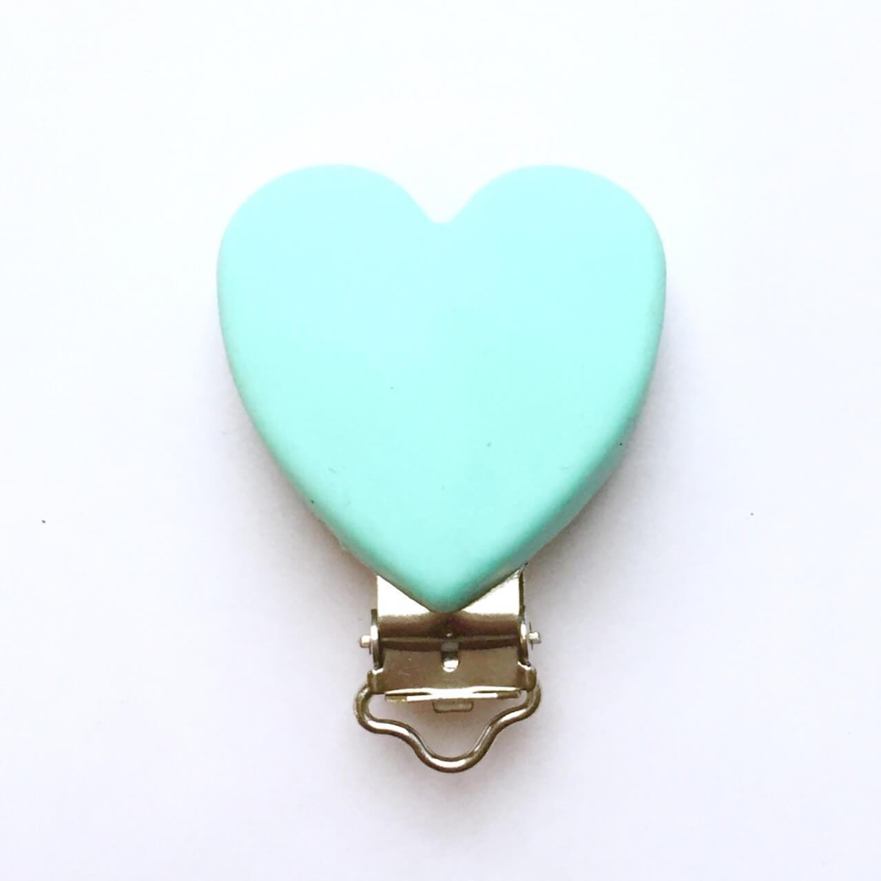 Клипса Сердце (тиффани) силиконовая для пустышки