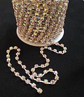 Стразовая цепь silver, Crystal AB, SS16 (3,8-4,0 мм) 1 ряд. Цена за 1м.