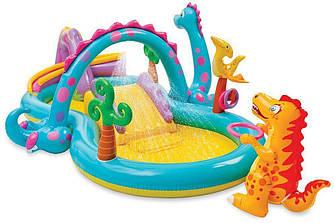 """Детский игровой надувной центр """"Планета динозавров"""" с фонтаном и надувным кольцом"""
