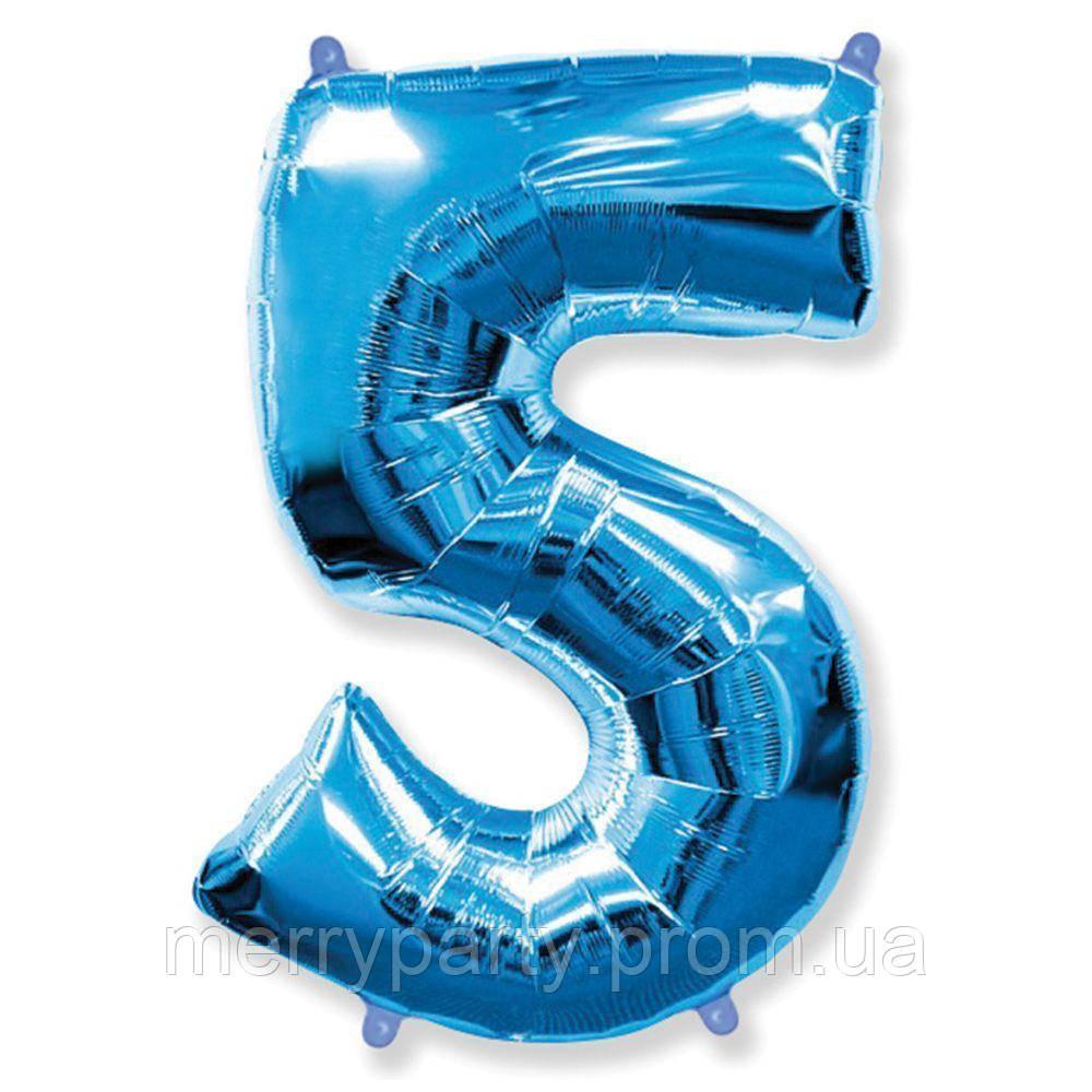 """40"""" Цифра """"5"""" (100 см) синий Flexmetal Испания шар фольгированный"""