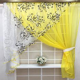 """Кухонные шторы """"Луиза"""" Лимон"""