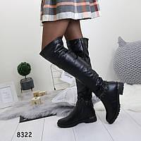 Зимние женские ботфорты черные 8322