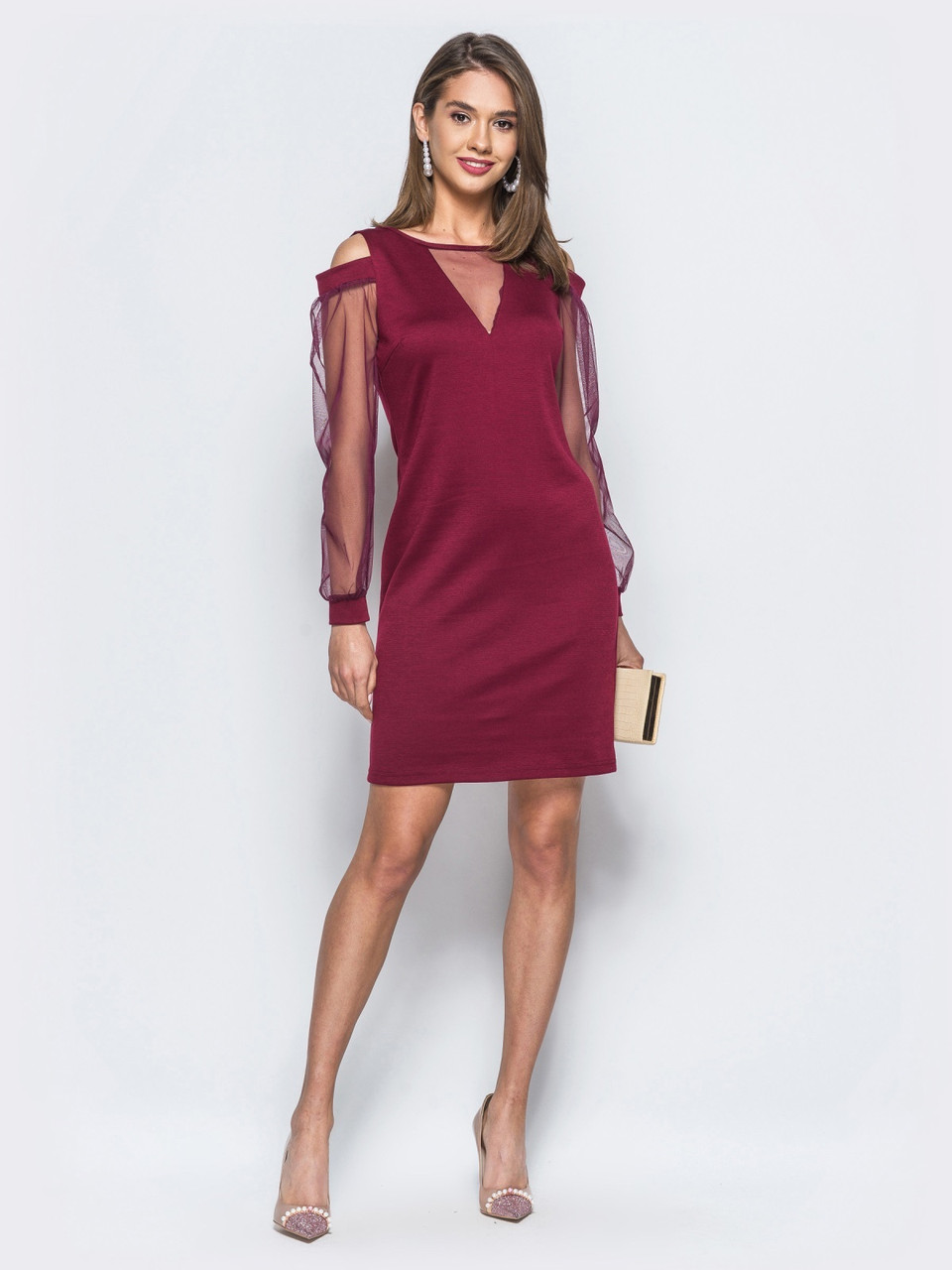 76c3cf24ac8 Элегантное женское трикотажное бордовое платье с открытыми плечами р ...