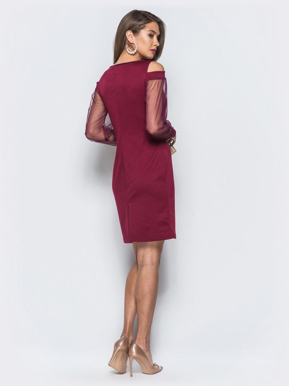 60f6030f28257da ... Элегантное женское трикотажное бордовое платье с открытыми плечами  р.48,50, фото 4