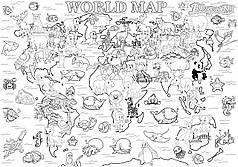 Мега раскраска Карта мира 64 х 90 см (741742)