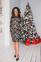 Женское праздничное  нежное мини платье украшенное вышевкой ( основа микромасло ) батал, фото 1
