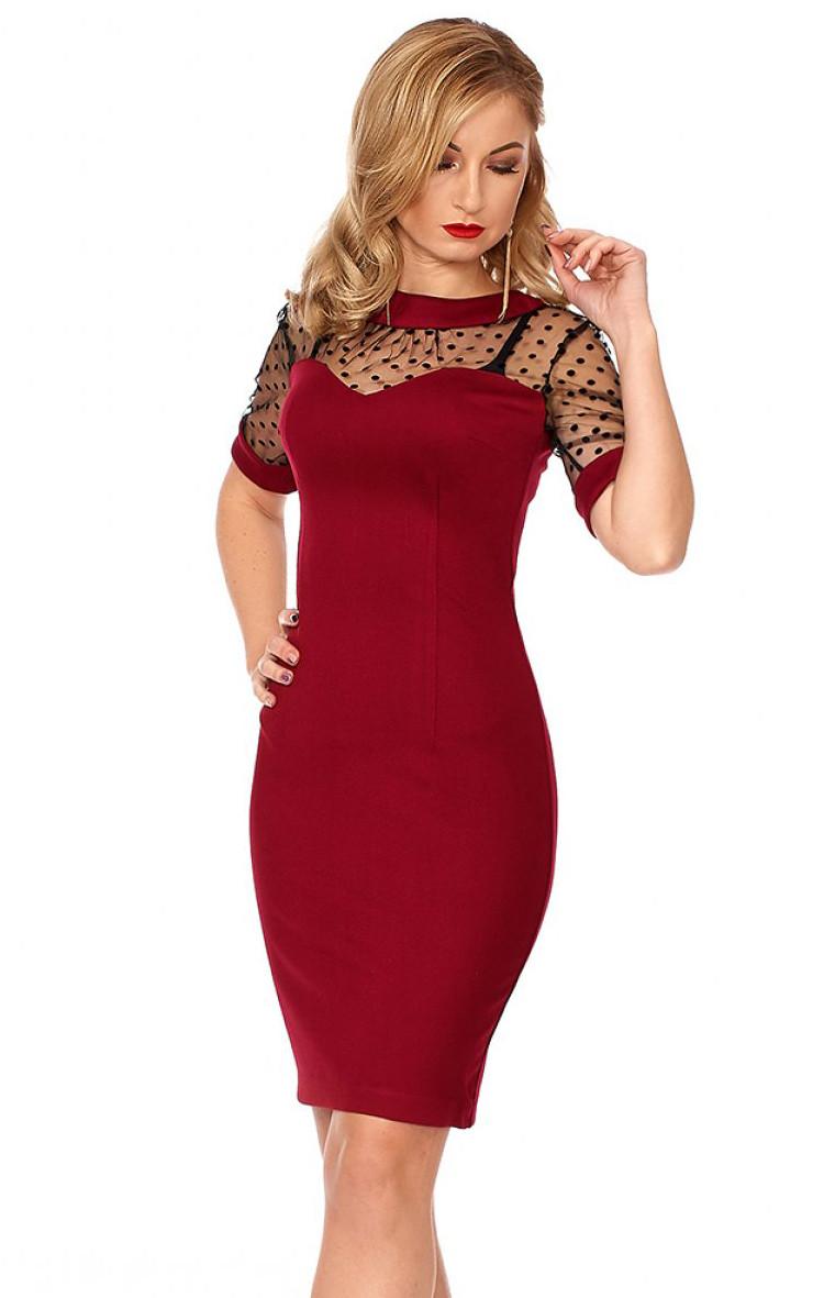 a0608cc19d9 Вечернее платье цвета марсала с коротким рукавом. Модель 1116. Размеры 42-50  -