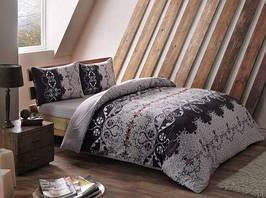 Фланелевое постельное белье Евро размера TAC Gizella vizon v01 серый