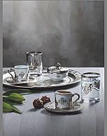 Набор чашек для кофе Романс серебристый на 2 персоны