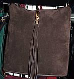 Клатчи из натурального замша на плечо (бордо)25*25см , фото 4