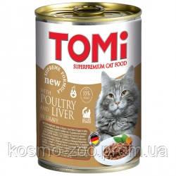 TOMi poultry liver ПТИЦА ПЕЧЕНЬ консервы для котов, влажный корм 400 гр.