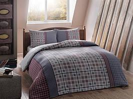 Фланелевое постельное белье Евро размера TAC Grey mavi v01 голубой