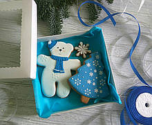 """Подарочный набор к Новому Году имбирно-медовых пряников """"Мишка с елкой""""  (пряник новогодний на подарок)"""
