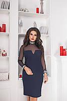 Женское праздничное облегающее замшевое мини платье украшенное приятной мягкой сеткой( замш + сетка) батал, фото 1