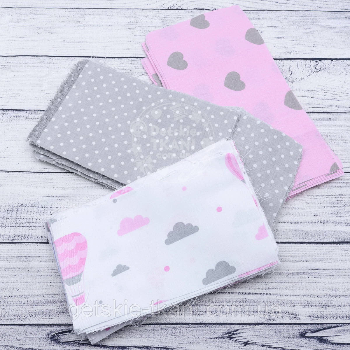"""Набор тканей для рукоделия """"Сердечки, воздушные шары и горошек"""" серо-розового цвета №93"""