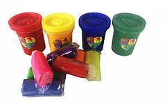 Набор креативного творчества пальчиковые краски 4 баночки + тесто для лепки (PK-03-01)