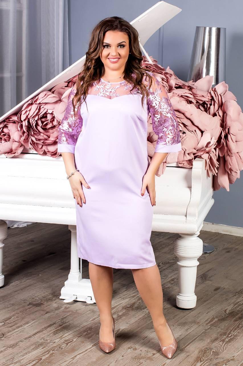 Платье женское с кружевным рукавам, креп, модель 132 батал, цвет - лиловый