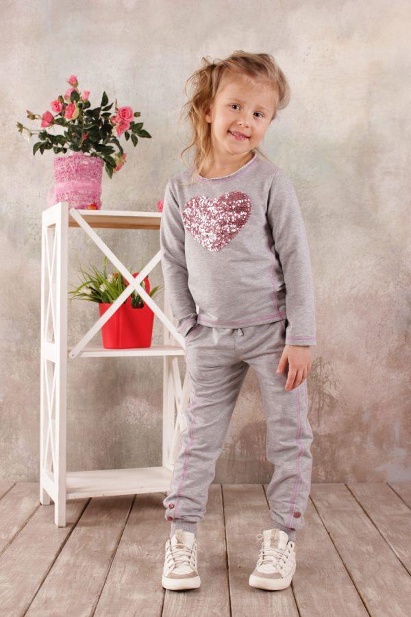 Реглан для девочки (серый меланж) 3-8 лет