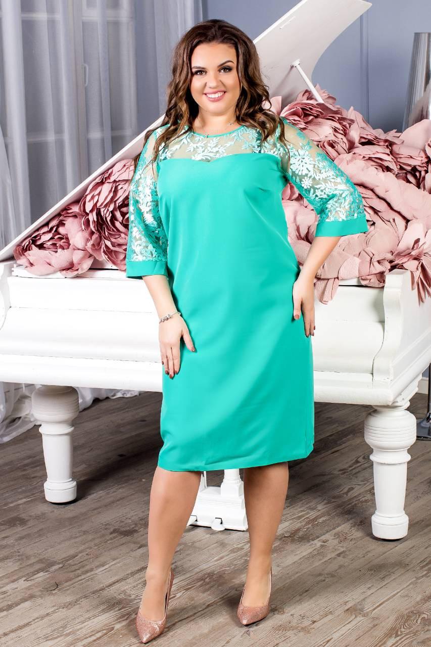 Платье женское с кружевным рукавам, креп, модель 132 батал, цвет - бирюза