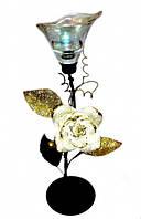 9060104 Подсвечник на 1 свечу с белой тряпичной розой