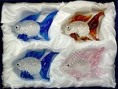 9190102 Набор четыре рыбки цветное стекло