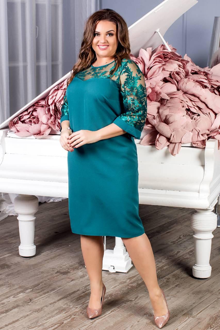 Сукня жіноча з мереживним рукавах, креп, модель 132 батал, колір - морська хвиля
