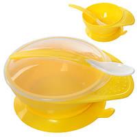 Посуда детская пластик-силикон 3пр/наб (тарелка с крышкой, ложка)
