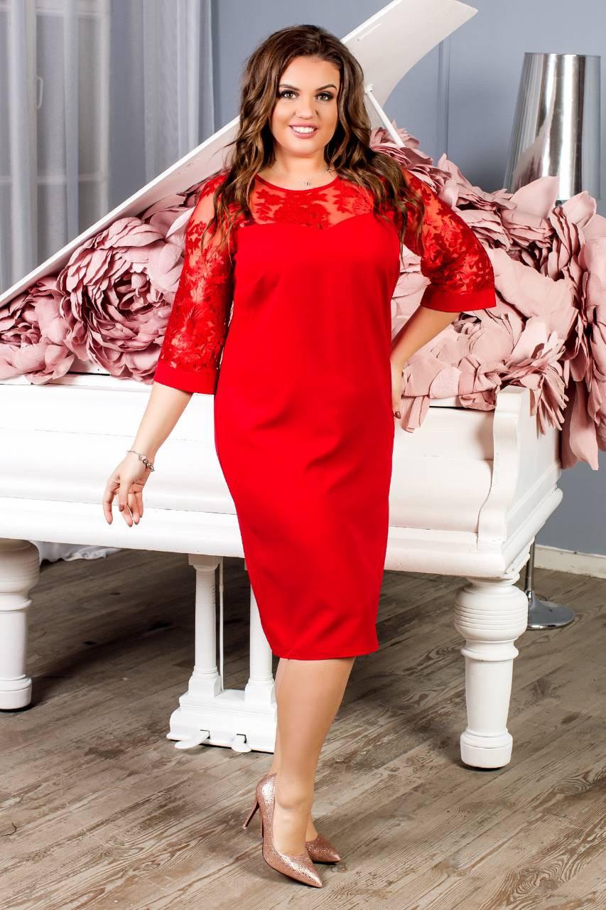 Платье женское с кружевным рукавам, креп, модель 132 батал, цвет - красный