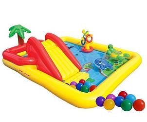 """Детский игровой надувной центр """" Аквапарк """"  с  надувными кольцами, игрушками  и горкой, шарики  10 шт."""