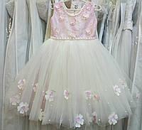 3.207 Нежное кремово-розовое нарядное детское платье-маечка с бабочками и цветочками на 3-5 лет