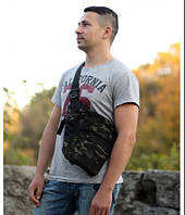 Сумка на плечевом ремне тактическая военная городская Under Arm Bag multicam black