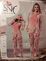 Теплый женский комбинезон-пижама №4092 (махра с флисом)