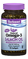 Натуральная Омега-3 из Лососевого Жира, Bluebonnet Nutrition, 90 желатиновых капсул
